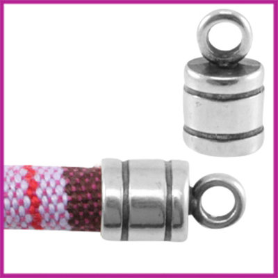 DQ metaal eindkapje met oog voor 6mm koord Antiek Zilver