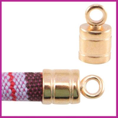 DQ metaal eindkapje met oog voor 6mm koord Rosegold