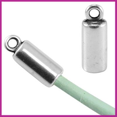 DQ metaal eindkap voor 3mm leer/(satijn)koord Antiek zilver