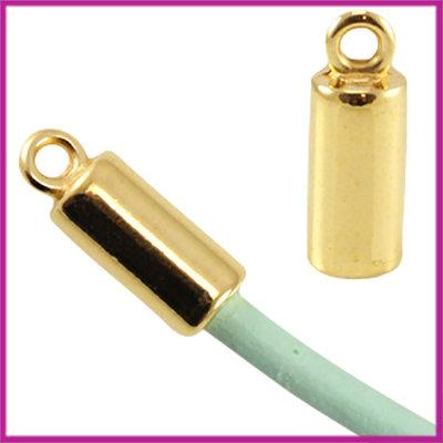 DQ metaal eindkap voor 3mm leer/(satijn)koord Goud