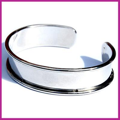 Basis Cuff armband metaal small ø18cm Antiek zilver