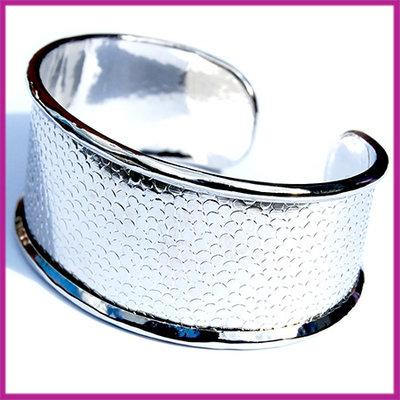 Basis Cuff armband metaal large ø18cm Antiek zilver