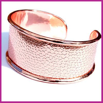 Basis Cuff armband metaal large ø18cm Rosegold