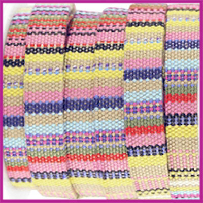 Aztec plat koord 10mm Multicolor geel per 10cm