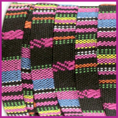 Aztec plat koord 10mm Zwart hot pink per 10cm