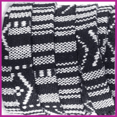 Aztec plat koord 10mm Zwart per 10cm