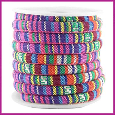 Aztec rond koord 6x4mm Multicolor geel roze paars per 10cm