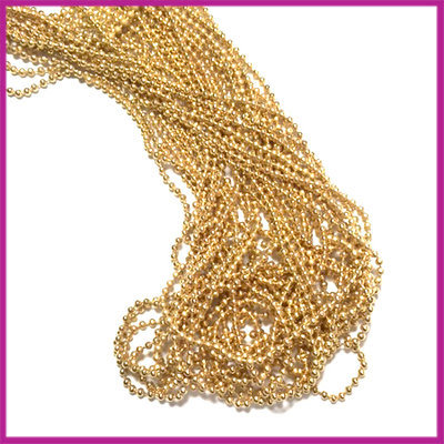 DQ Ballchain / bolletjesketting 1,2 mm GPL Gold plated per 10cm