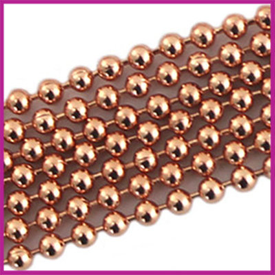 DQ Ballchain / bolletjesketting 2 mm ROSEGOLD per 10cm
