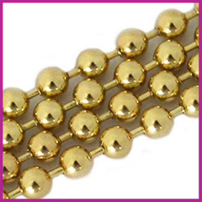 DQ Ballchain / bolletjesketting 3 mm Goud per 10cm