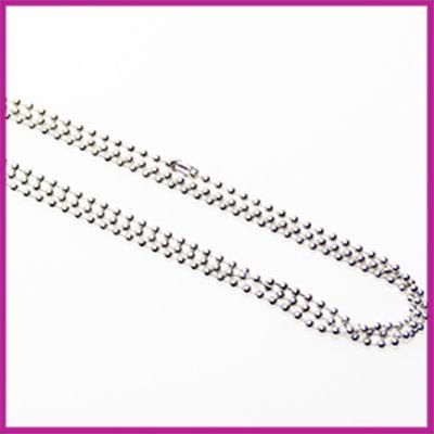 Ballchain halsketting RVS met sluiting Ø2,5mm  AZ