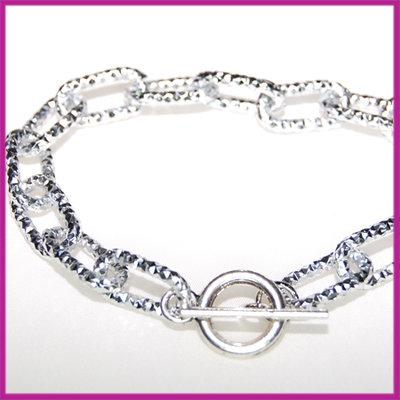 Aluminium armband bewerkt 17x9mm, 22cm Zilver