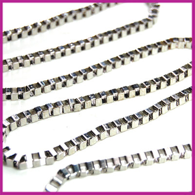 Metalen ketting bloksckakel 4x5mm dik Zilver per 50cm