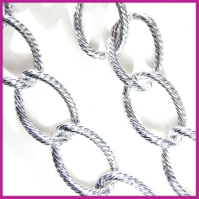 Aluminium ketting bewerkt 28x18mm per 50cm