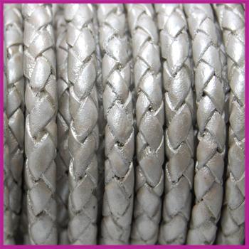 DQ leer gevlochten rond 4mm Wit zilver metallic per cm