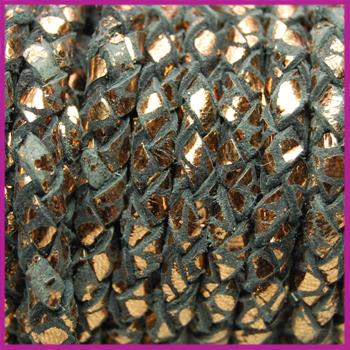 DQ leer gevlochten rond 4mm Zwart bruin koper per cm