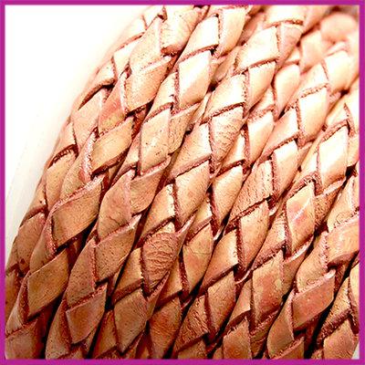 DQ leer gevlochten rond 4mm Vintage roze per cm