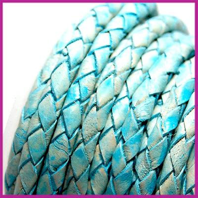 DQ leer gevlochten rond 4mm Vintage turquoise blauw per cm
