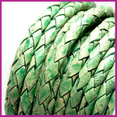 DQ leer gevlochten rond 4mm Vintage turmaline groen per cm