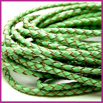 DQ leer gevlochten rond 3mm Peridot green per cm