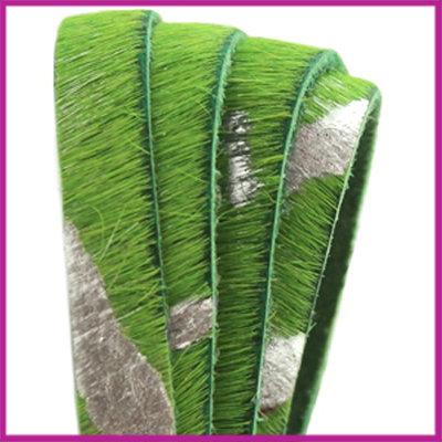 DQ nature leer harig groen/zilver 13mm ca. 25cm