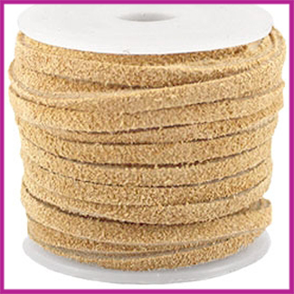 DQ leer suede 3mm Pale Gold per 50cm