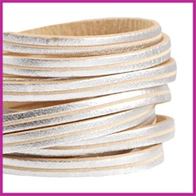 DQ leer plat 5mm streep Zilver - beige ca. 20cm