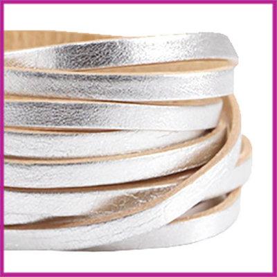 DQ leer plat 5mm Zilver - beige ca. 20cm