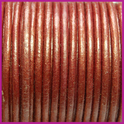 DQ leer rond 2 mm Tibetan red metallic per 50cm