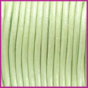DQ leer rond 2 mm Metallic Tender lime green per 50cm