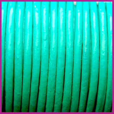 DQ leer rond 2 mm Gumdrop Green per 50cm