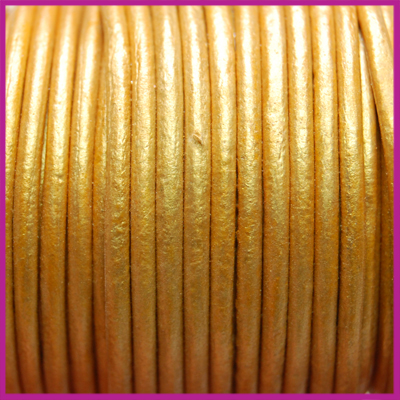 DQ leer rond 2 mm Honey gold metallic per 50cm