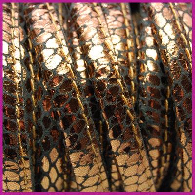 DQ Leer stitched +/- 8x5mm Bruin brons reptiel per cm