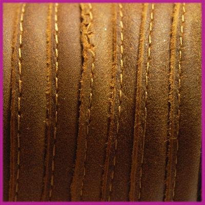 DQ Leer stitched +/- 8x5mm Antique bruin per cm