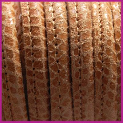 DQ Leer stitched +/- 8x5mm Pompoen reptiel per cm