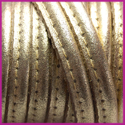 DQ Leer stitched +/- 8x5mm Goud metallic per cm