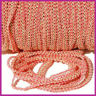 Fashion wire plat 5mm dark antique rose - goud per 50cm