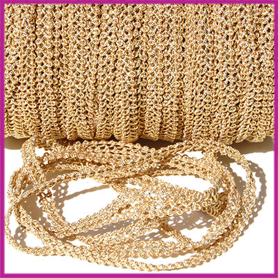 Fashion wire plat 5mm beige - goud per 50cm