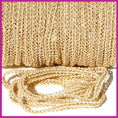 Fashion wire plat 5mm wit - goud per 50cm