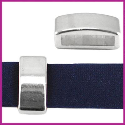 DQ metaal schuiver blokje ca. 8x5mm Antiek zilver