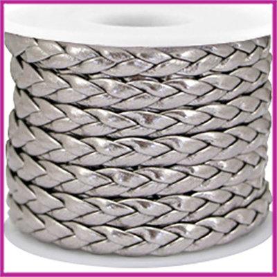 Gevlochten plat imitatie leer 6mm metallic steel grey per 20cm