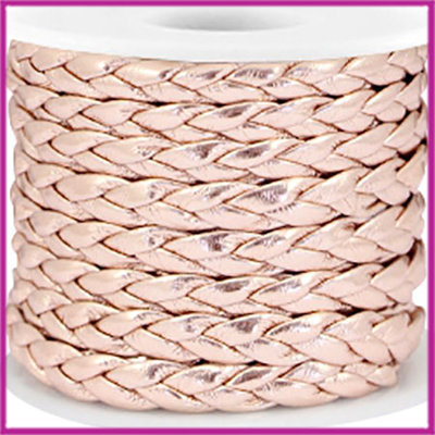 Gevlochten plat imitatie leer 6mm metallic light rose gold per 20cm