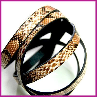 Imitatie leer slangenprint band 10x2mm bruin/zwart ca. 25cm