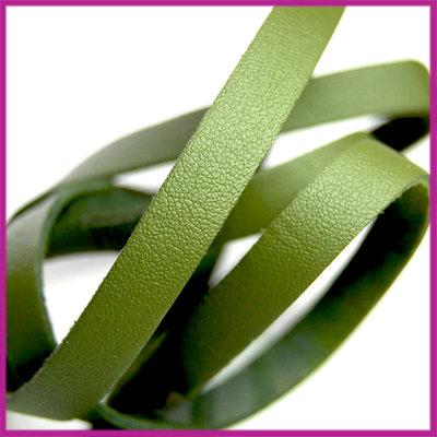Imitatie leer band 10mm, 1,5mm dik Olijf groen ca. 25cm