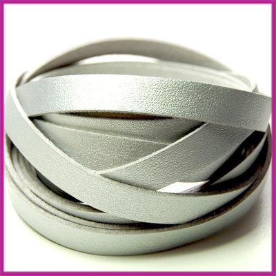 Imitatie PU leer band 10mm Zilver per cm