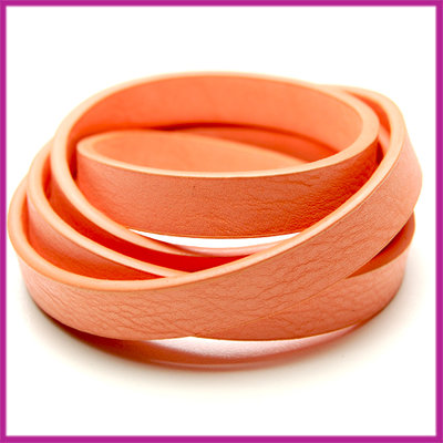 Imitatie leer band 11mm, 3mm dik Peach roze per 20cm