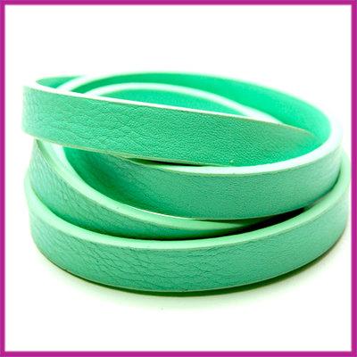 Imitatie leer band 11mm, 3mm dik Turquoise groen per 20cm