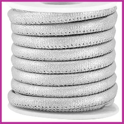 Gestikt imitatie leer 5x4mm Metallic silver per cm