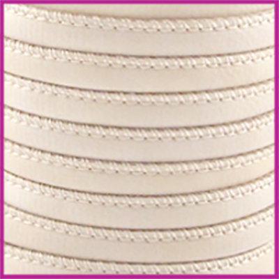 Gestikt leer imitatie 6x4mm Cream beige per cm