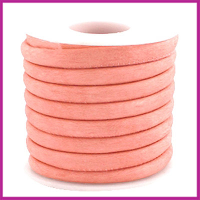Gestikt leer imitatie 6x4mm sude Rose peach per cm